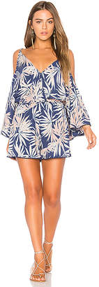 L*SPACE Polynesian Palm Soho Romper in Navy $119 thestylecure.com