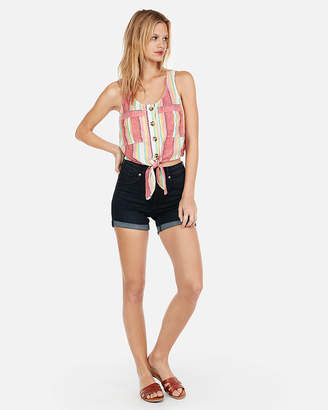 Express Striped Linen Tie Front Tank