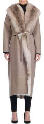 Giuliana Teso Wool-Blend Wrap Coat with Fox Fur Trim