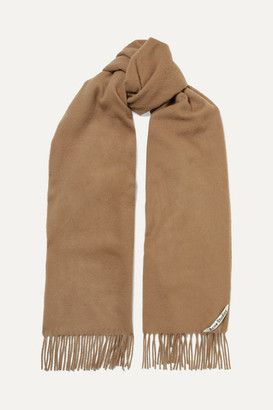 Acne Studios Canada Narrow Fringed Wool Scarf - Tan
