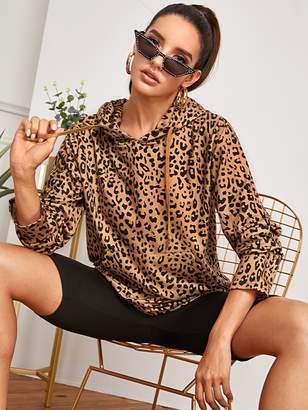 Shein Leopard Print Pocket Front Hooded Sweatshirt