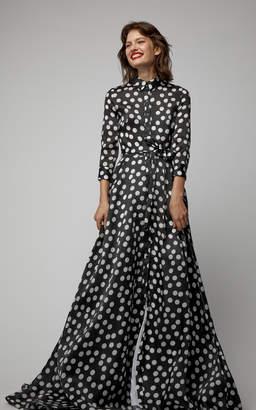 Carolina Herrera Silk Polka-Dot Trench Gown