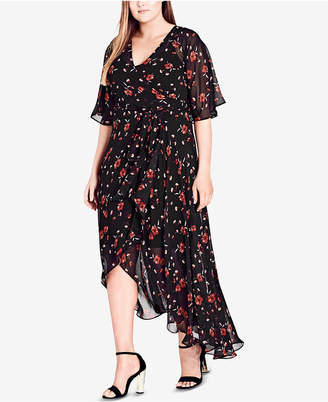 City Chic Trendy Plus Size Fall in Love Floral Wrap Dress