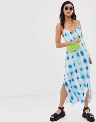 Asos Design DESIGN satin cami maxi slip dress in tie dye print