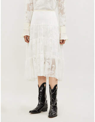 See by Chloe Floral-pattern lace midi skirt