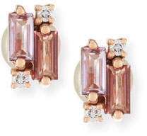 Suzanne Kalan KALAN by 14k Rose de France Amethyst & Topaz Baguette Earrings