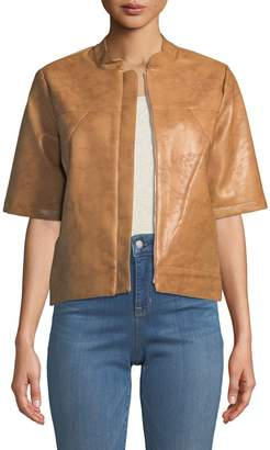 BCBGeneration Short-Sleeve Faux-Leather Topper Jacket