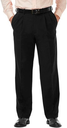 Haggar Men's Cool 18 PRO Classic-Fit Wrinkle-Free Pleated Expandable Waist Pants