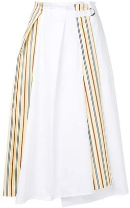 Jil Sander Navy side stripe paperbag midi skirt