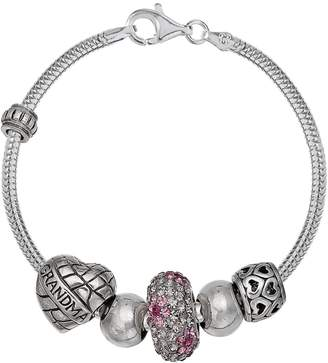 "Individuality Beads Crystal Sterling Silver Snake Chain Bracelet & ""Grandma"" Bead Set"