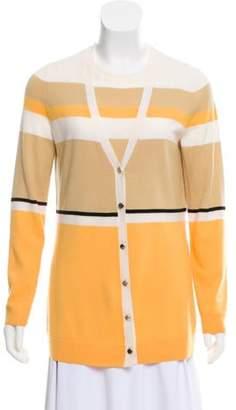 St. John Wool Knit Cardigan Set Yellow Wool Knit Cardigan Set