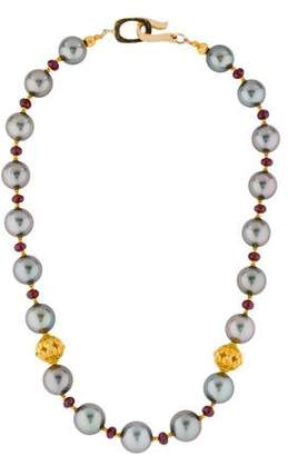 Pearl & Garnet Bead Strand Necklace