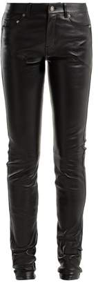 Saint Laurent Skinny Leather Trousers - Womens - Black