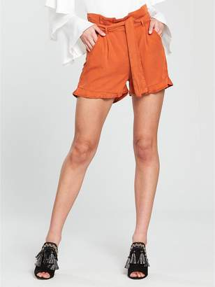 Very Paper Bag Waist Short With Ruffle Hem - Rust