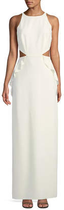 Halston Sleeveless Ruffle Gown w/ Cutout