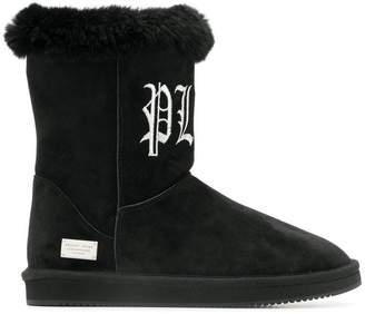 Philipp Plein gothic logo embroidered boots