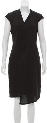 Helmut Lang Cap Sleeve V-Neck Midi Dress