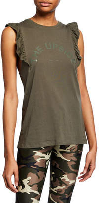 The Upside Scoop-Neck Frill Logo Muscle Tank