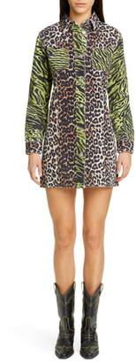 Ganni Leopard Print Long Denim Shirtdress