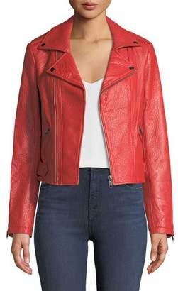 Rebecca Minkoff Wolf Zip-Front Leather Moto Jacket