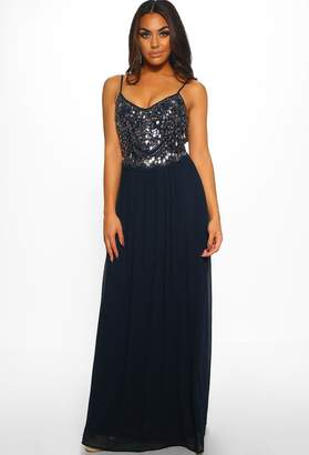 Pink Boutique Show Must Go On Navy Embellished Maxi Dress