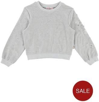 Billieblush Girls Embellished Sleeve Metallic Sweatshirt