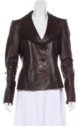 Salvatore Ferragamo Suede-Paneled Leather Blazer