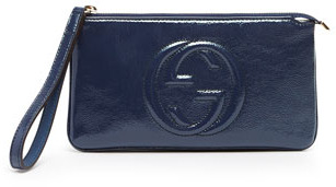 Gucci Soho Patent Leather Wristlet, Uniform Blue