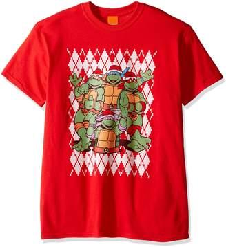 Nickelodeon Men's Tmnt Argyle Ugly Christmas T-Shirt
