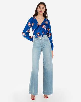 Express Satin Tie Front Floral Print Cropped Long Sleeve Top