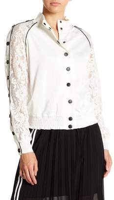 OnTwelfth Lace Sleeve Bomber Jacket