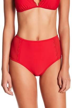 Betsey Johnson Scalloped High-Waisted Bikini Bottom