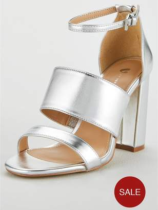 ef987f852792cd Very Wide Fit Bess High Block Heel 3 Strap Sandal - Silver