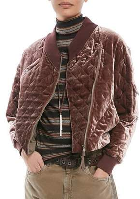 Brunello Cucinelli Quilted Velvet Asymmetrical-Zip Jacket