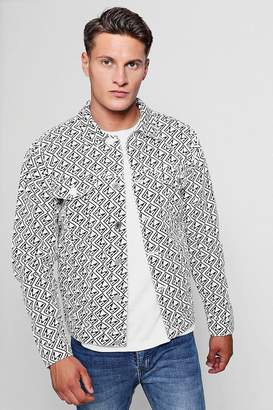 boohoo MAN Repeat Print Denim Jacket