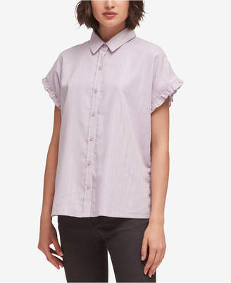 DKNY Ruffle-Trim Lurex Striped Shirt