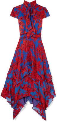 Alice + Olivia Ilia Ruffled Floral-print Crepe De Chine Midi Dress