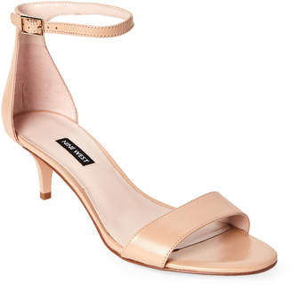 Nine West Natural Leisa Leather Ankle Strap Sandals