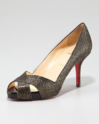 Christian Louboutin Shelly Shimmer Red Sole Pump, Black