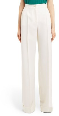 Women's Dolce&gabbana Cuff Wide Leg Wool Pants $1,175 thestylecure.com