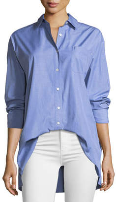 Lafayette 148 New York Everson Anthology Shirting Button-Down Blouse with Pocket