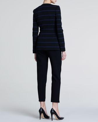 Giorgio Armani Striped Jersey Blazer, Black Ink