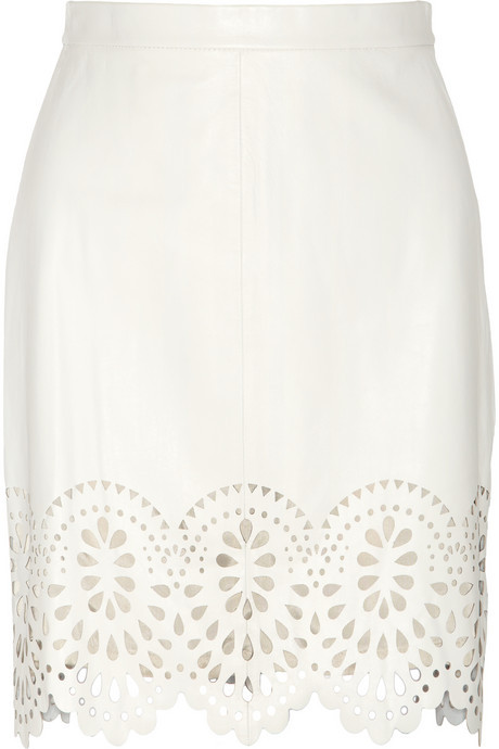 Lover Catherine laser-cut leather skirt
