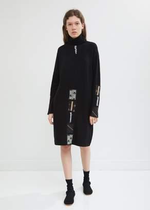 Antipast Wool Patchwork Turtleneck Dress