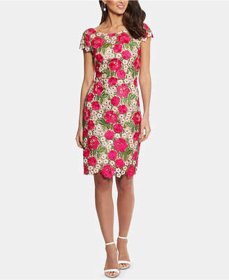 Xscape Evenings Petite Floral-Lace Sheath Dress