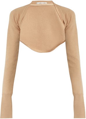 PALMER/HARDING Open-front cropped wool-knit top