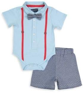 Andy & Evan Baby Boy's Two-Piece Bow Tie Polo Bodysuit & Polka Dot Chambray Shorts Set
