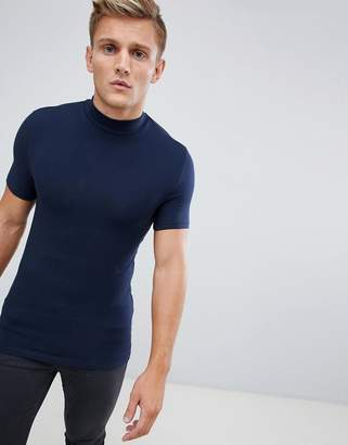 Asos Design DESIGN muscle fit turtle neck t-shirt with stretch in navy