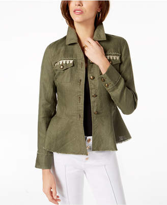 INC International Concepts I.N.C. Linen Embroidered Peplum Jacket, Created for Macy's