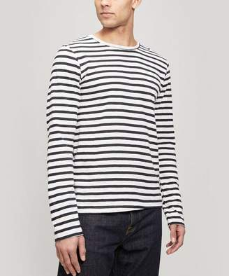 Nudie Jeans Orvar Striped Long Sleeve Cotton T-Shirt